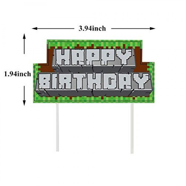 5Pcs Pixel style party supplies Cake Decoration Birthday Cupcake...