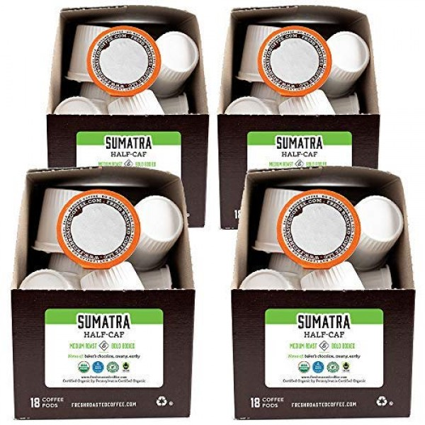 Fresh Roasted Coffee LLC, Swiss Water Half Caf Organic Sumatra C...