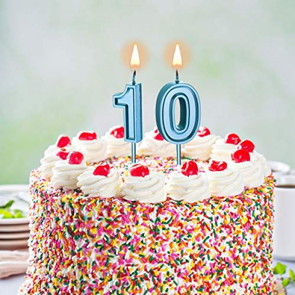 10th Birthday Candles Cake Numeral Candles Happy Birthday Cake C...
