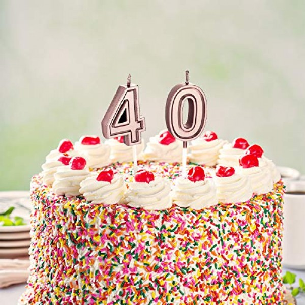 40th Birthday Candles Cake Numeral Candles Happy Birthday Cake C...