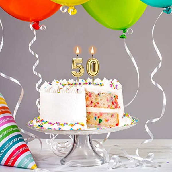 50th Birthday Candles Cake Numeral Candles Happy Birthday Cake C...