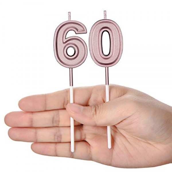 60th Birthday Candles Cake Numeral Candles Happy Birthday Cake C...