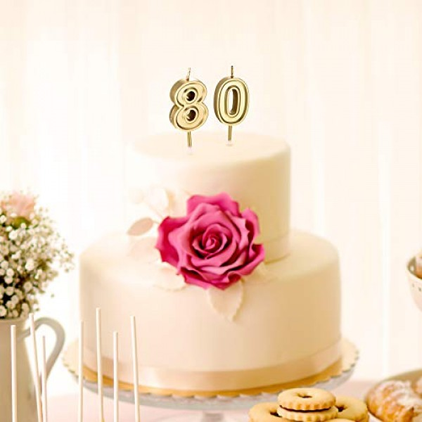 80th Birthday Candles Cake Numeral Candles Happy Birthday Cake C...