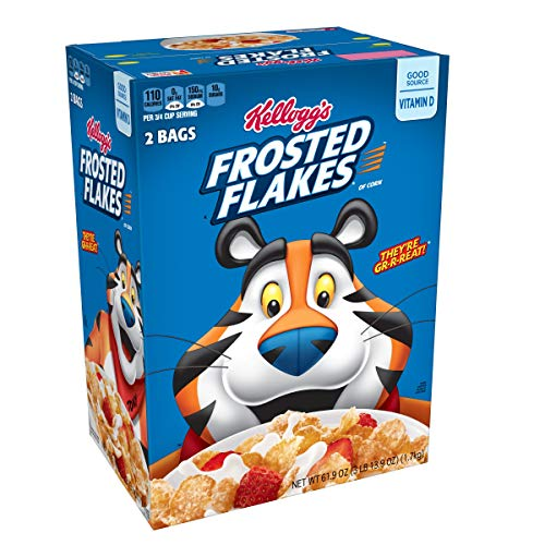 Kelloggs Breakfast Cereal, Frosted Flakes, Fat-Free, Family Siz...