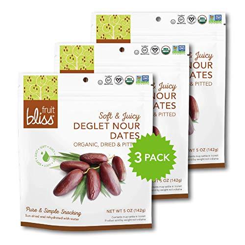 Fruit Bliss Deglet Nour Pitted Dates – Soft & Juicy Organic, Dri...