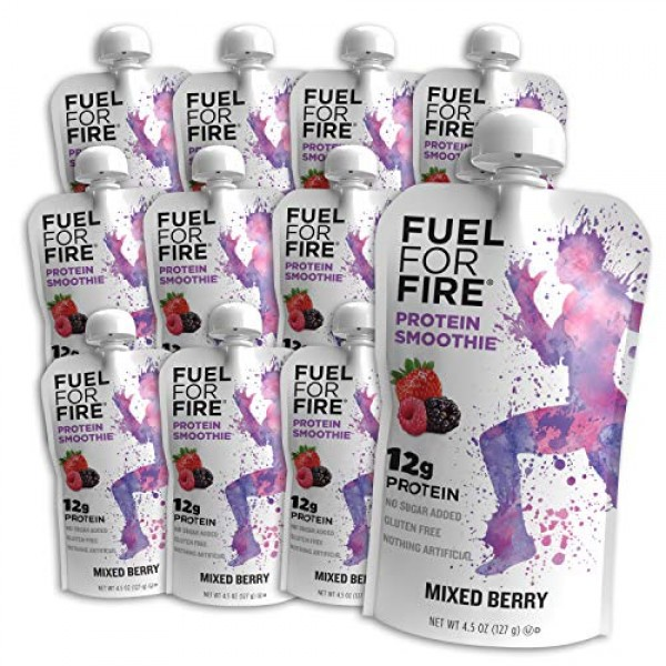 Fuel For Fire - Mixed Berry 12 Pack Fruit & Protein Smoothie S...