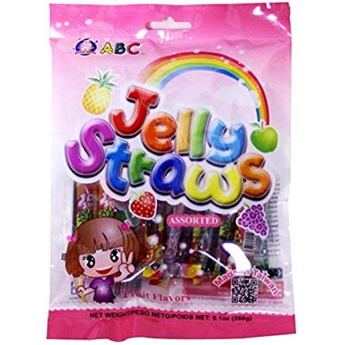 ABC Assorted Fruit Jelly Filled Strip Straws - Many Flavors! 9....