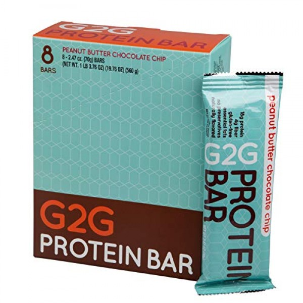 G2G Protein Bar, Peanut Butter Chocolate Chip Protein Bar, 8 Cou...