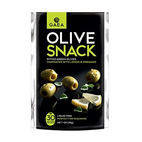 Gaea Snack Pack Pitted Green Olives with Oregano and Lemon Juice...