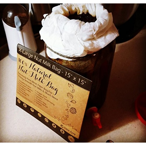 2 Extra-Large Nut Milk Bags - 15 x 15 - All Natural Organic Co...