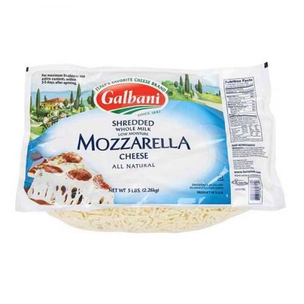 Galbani Whole Milk Low Moisture Mozzarella Cheese, 5 Pound -- 6 ...
