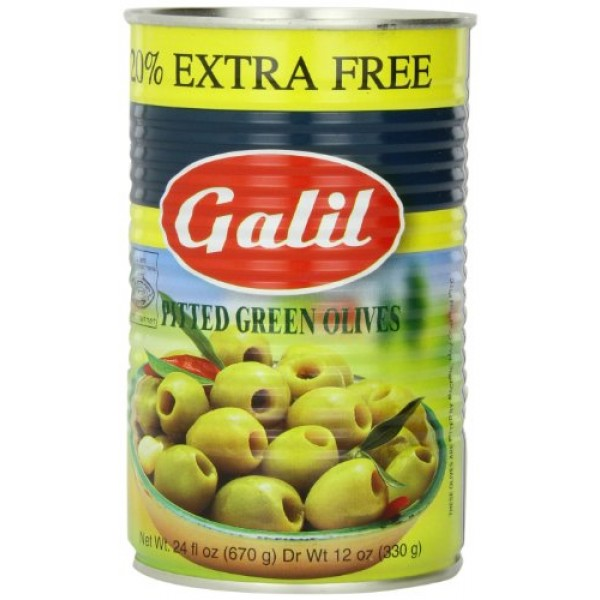 Galil Green Pitted Olive + 20% Extra Value Size, 24-Ounce Cans ...