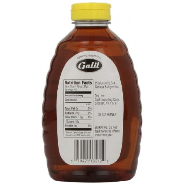 Galil Pure Natural Orange Blossom Honey, 32-Ounce Jars Pack of 2