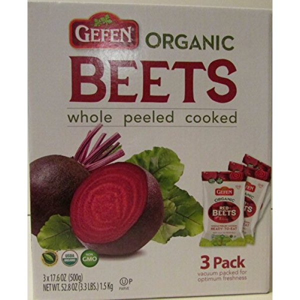 Organic Red Beets whole peeled cooked 3 pack 17.6 oz 3.3 lbs