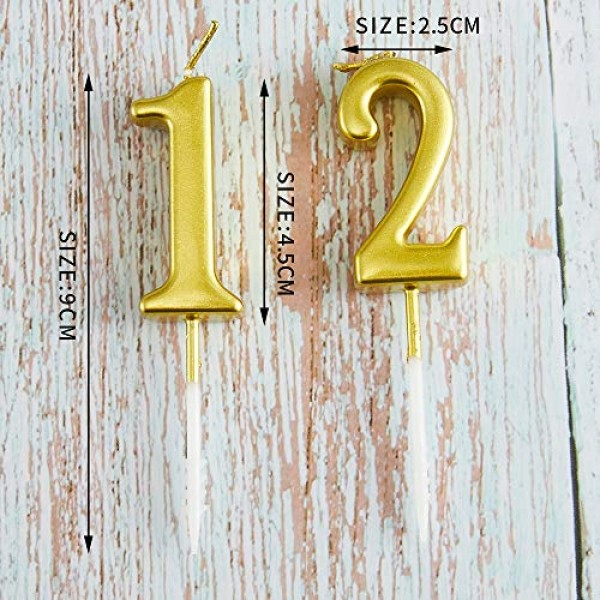 10 Pieces Birthday Candles Cake Numeral Candles Number 0-9 Glitt...