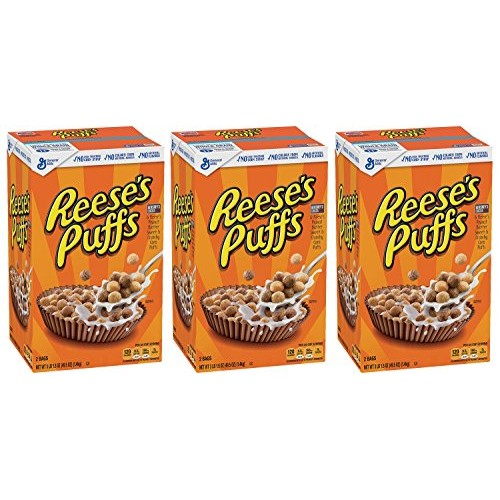 Reeses Puffs, Peanut Butter Cereal, 49.5 Ounce Pack of 3