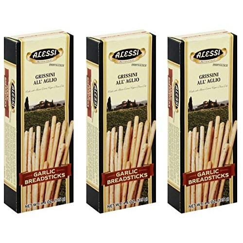 Alessi Thin Garlic Breadsticks, 4.4 Ounce Pack of 3