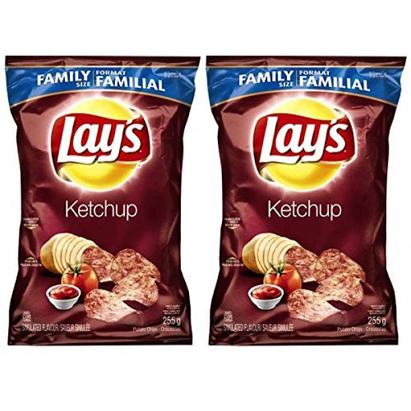 Lays Potato Chips, Ketchup, Large Family size - 2 Pack {Imported...