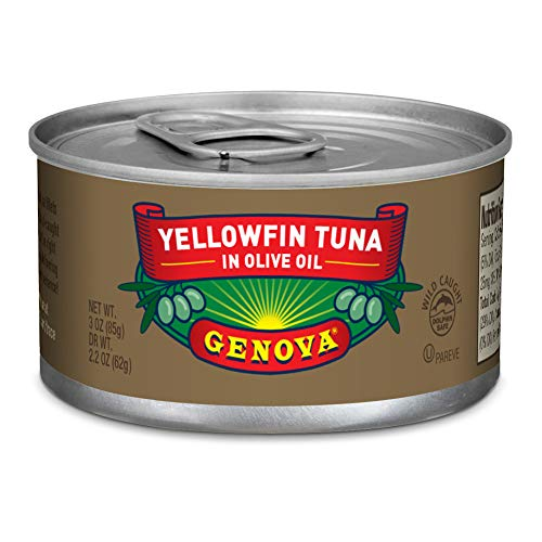 Genova Solid Yellowfin Tuna In Olive Oil, 3 oz Tins Pack Of 8