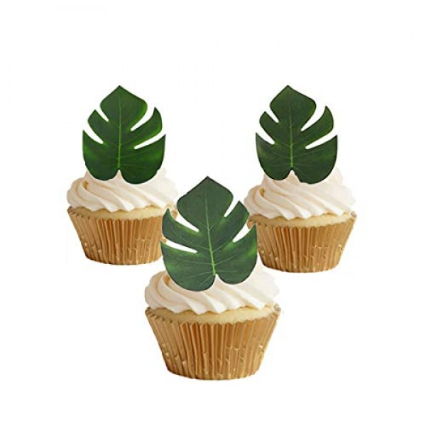 GEORLD 48pcs Edible Tropical Palm Leaves Cupcake Toppers for Haw...