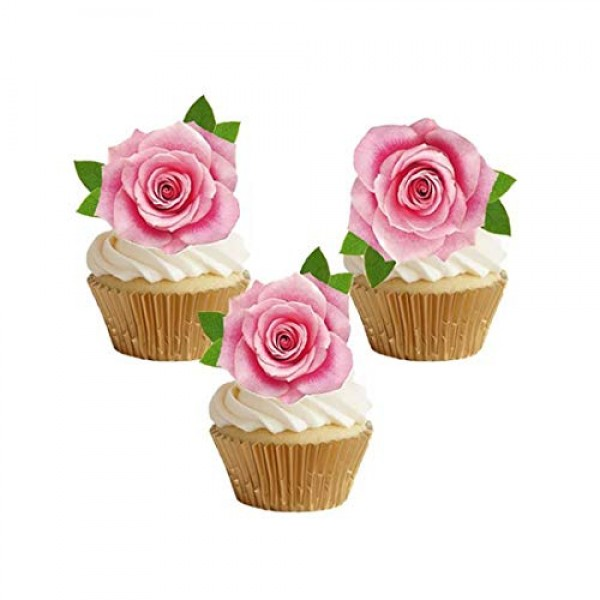 GEORLD Not 3D 24Pcs Edible Pink Rose Cupcake Topper Cake Toppers...