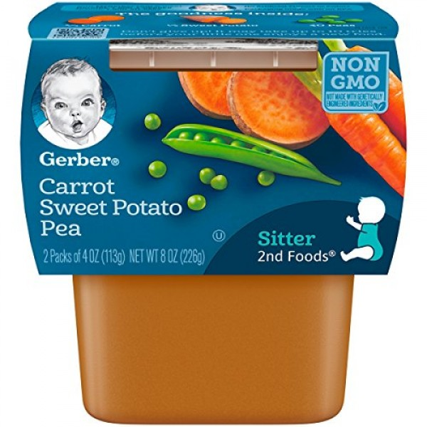 Gerber 2nd Foods Carrot Sweet Potato Pea Baby Food, 4 Ounce Tubs...