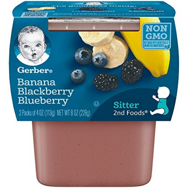 Gerber 2nd Foods Banana & Mixed Berry, 4 Ounce Tubs, 2 Count Pa...