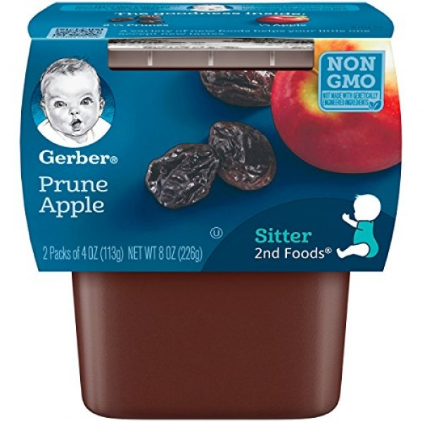 Gerber 2nd Foods Prunes with Apple, 4 Ounce Tubs, 2 Count Pack ...