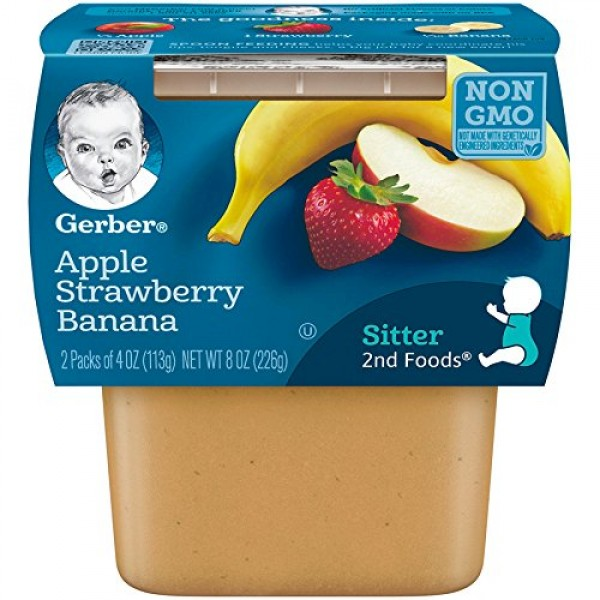 Gerber 2nd Foods Apple Strawberry Banana, 4 Ounce Tubs, 2 Count ...