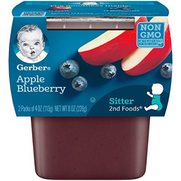 Gerber 2nd Foods Apple Blueberry, 4 Ounce Tubs, 2 Count Pack of 8