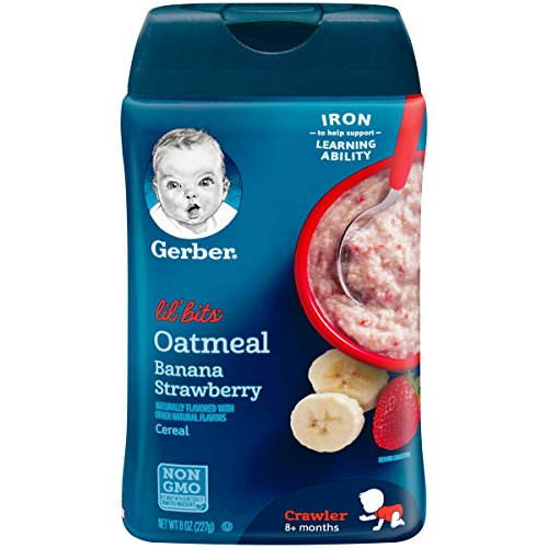 Gerber Lil Bits Oatmeal Banana Strawberry Baby Cereal, 8 Ounces...