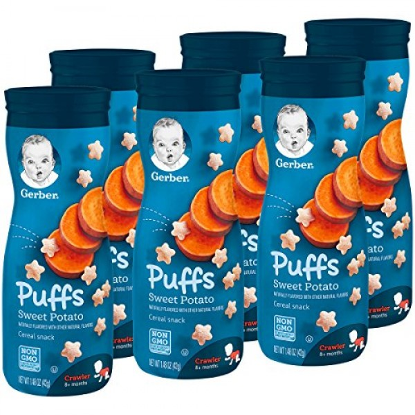 Gerber Puffs Cereal Snack, Sweet Potato, Naturally Flavored with...
