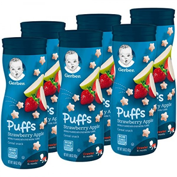 Gerber Puffs Cereal Snack, Strawberry Apple, 6 Count Packaging ...
