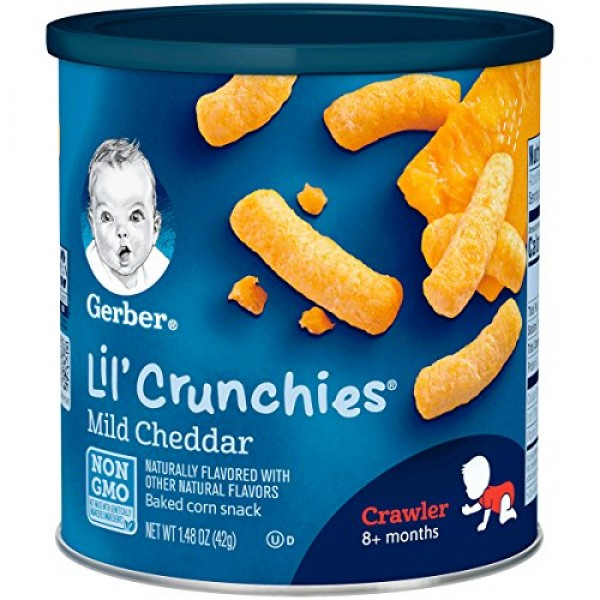 Gerber Lil Crunchies Mild Cheddar, 1.48 Ounce Canisters Pack o...
