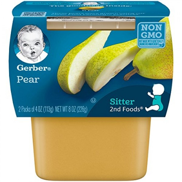 Gerber 2nd Foods Pears, 4 Ounce Tubs, 2 Count Pack of 8