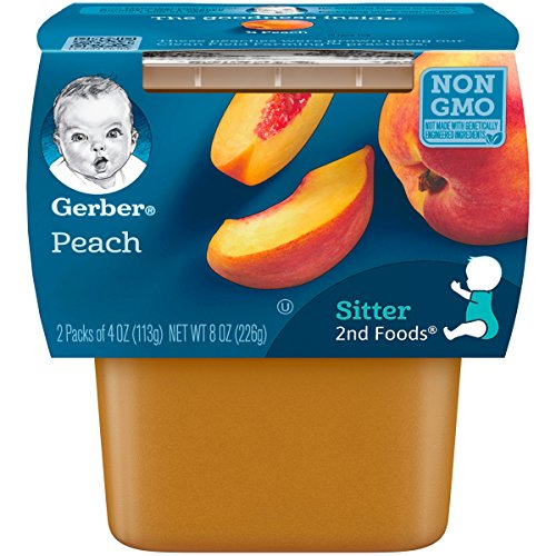 Gerber 2nd Foods Peaches, 4 Ounce Tubs, 2 Count Pack of 8