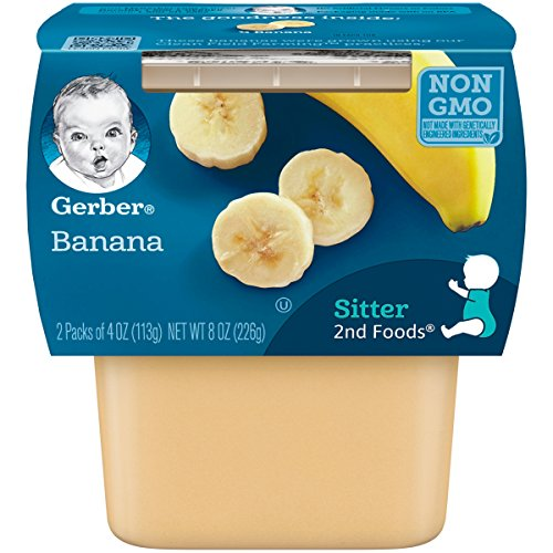 Gerber 2nd Foods Bananas, 4 Ounce Tubs, 2 Count Pack of 8