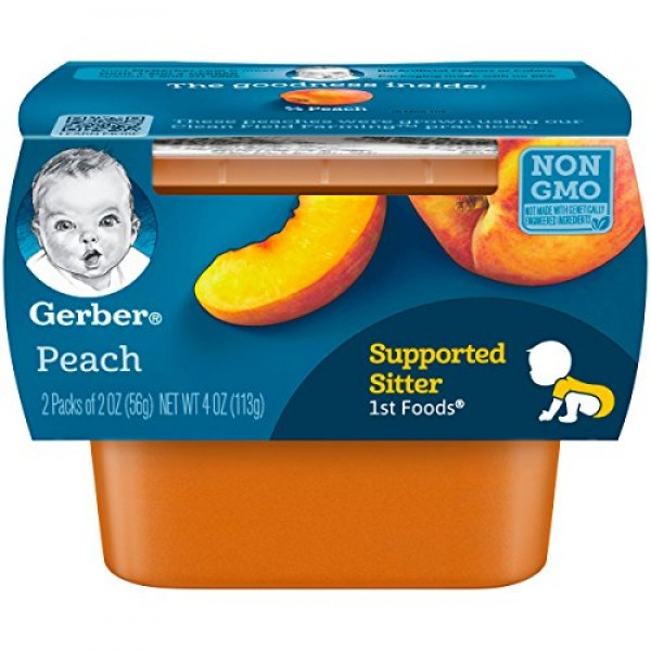 Gerber 1st Foods, Peach Pureed Baby Food, 2 Ounce Tubs, 2 Count ...