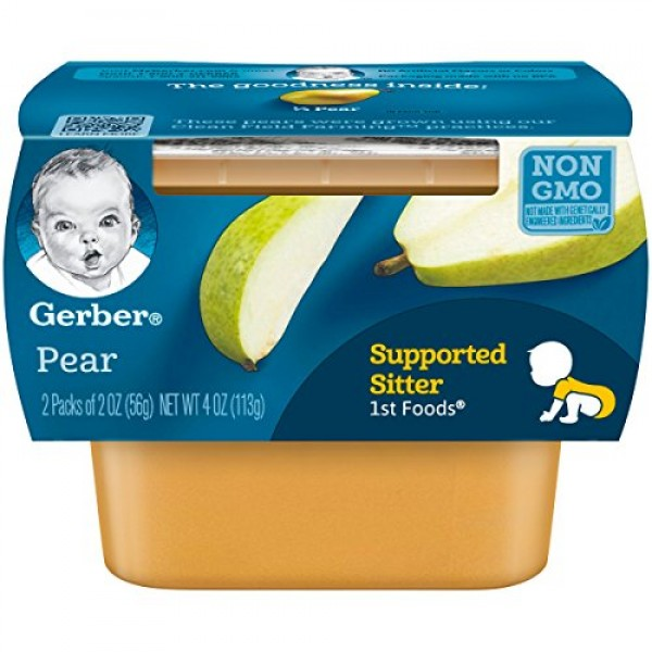 Gerber 1st Foods, Pear Pureed Baby Food, 2 Ounce Tubs, 2 Count ...