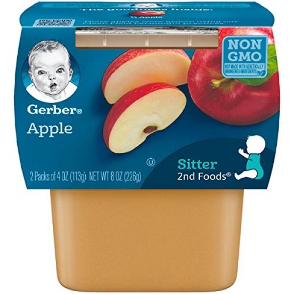 Gerber 2nd Foods Apples, 4 oz Tubs, 2 Count Pack of 8