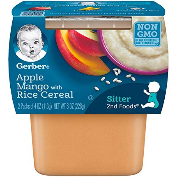 Gerber 2nd Foods, Apples & Mangos with Rice Cereal Pureed Baby F...
