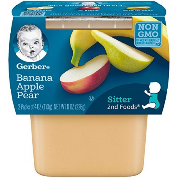Gerber 2nd Foods Bananas with Apples & Pears, 4 Ounce Tubs, 2 Co...