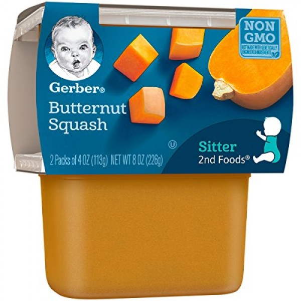Gerber 2nd Foods Butternut Squash Pureed Baby Food, 4 Ounce Tubs...
