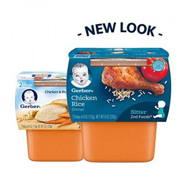 Gerber 2nd Foods Chicken Rice, 4 Ounce Tubs, 2 Count Pack of 8