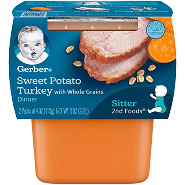 Gerber 2nd Foods Sweet Potato & Turkey Pureed Baby Food, 4 Ounce...