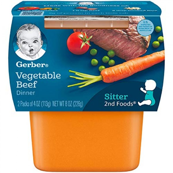 Gerber 2nd Foods, Vegetable and Beef Pureed Baby Food, 8 Ounce, ...