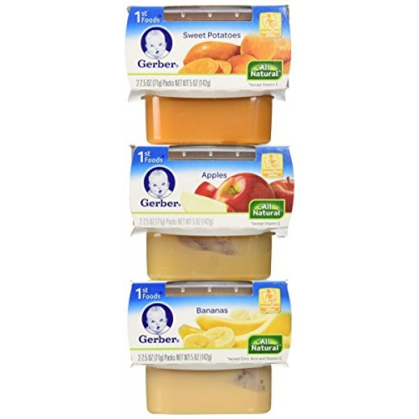Gerber 1st Foods Assorted Fruits and Vegetables, 18-2 Ounce Packs