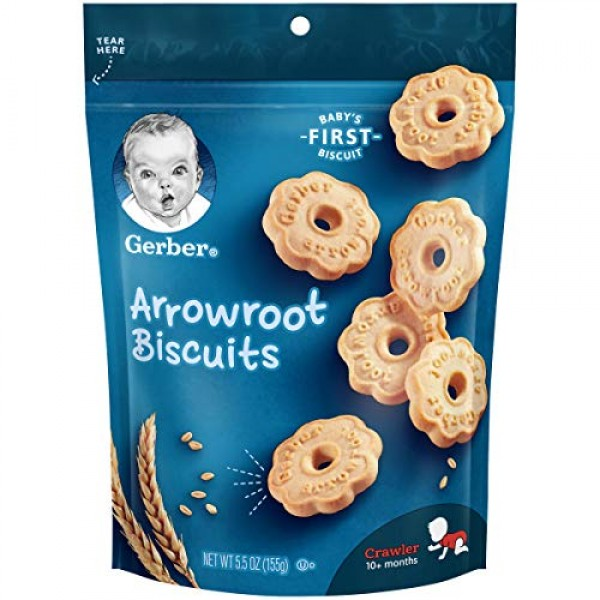 Gerber Arrowroot Cookies Pouch, 5.5 Ounce Pack of 4