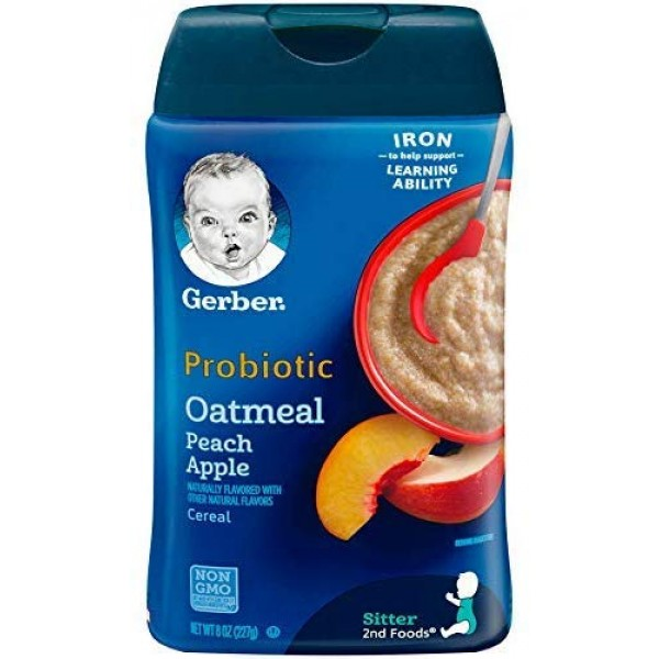 Gerber Baby Cereal Probiotic Oatmeal & Peach Apple Baby Cereal ...