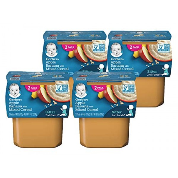 Gerber Baby Food, 2nd Foods, 8 OZ Apple Banana with Mixed Cerea...